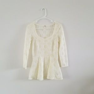 Free People Godet Daisy Lace Peplum Top Sz S